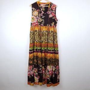 Soft Surroundings Floral Tassle Maxi Dress Size L